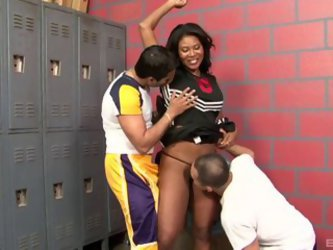Foxy Ebony Cheerleader Swallows Cum After...