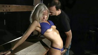 Tied up blonde Alena makes faces till the...