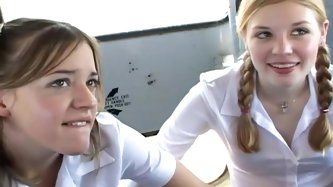 Schoolgirls on the bus suck cock and fuck...