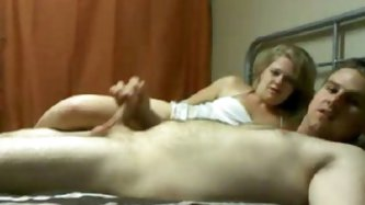 Blonde mother in law rides on her guy...