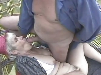 Slutty hairy grandma screwed outdoors