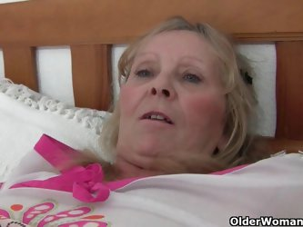 Granny with big tits gets finger fucked by...