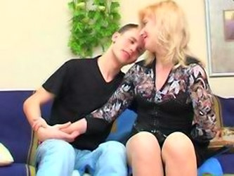 Mature Blonde And Teen Boy Has Sex In...