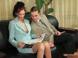 Judith Anal On Couch With Business Suit...