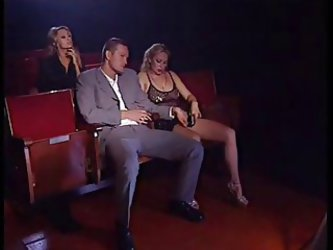 Italian Threesome At Cinema With 2 Blonde...