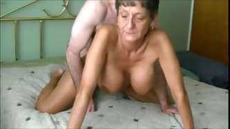 Busty Granny gets some oral action then...