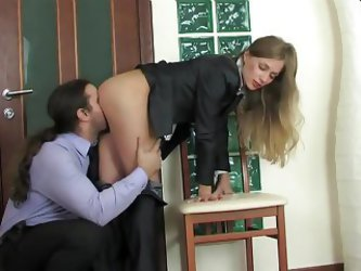 Anal Quickie For Lovely Blonde In Business...