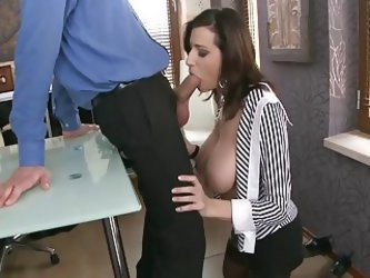 Horny Secretary With Massive Boobs Fucked...