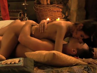 Gorgeous couple's steamy love making...