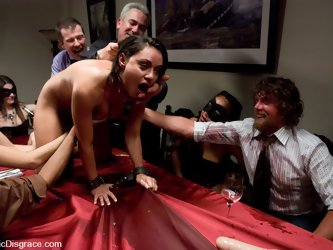 Busty brunette services a dinner party in...