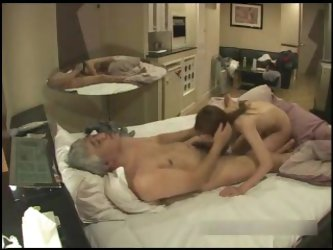 Old japanese boss with a slut hidden cam
