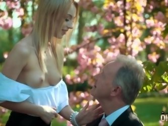 Young blonde moaning fucking an old man...