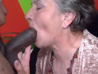 Granny tries the chocolate stick