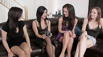 Four beautiful girls in a steamy lesbian...