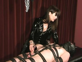 Domina milking his slave, while face...