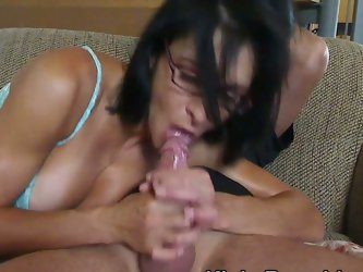 Kinky huge tits brunette riding cock in...