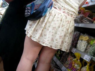 upskirt in the supermarket