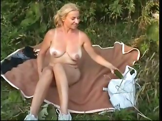 Horny busty light-haired mature whore with...