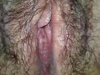 Close Up Hairy Pussy Creaming