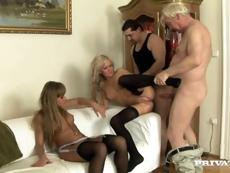 Two blonde girls get fucked by old dudes...
