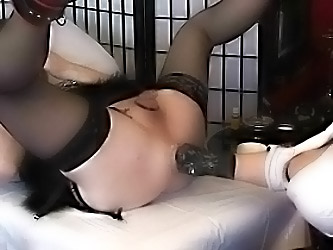 Gloved Busty Girl Fists The Siss...