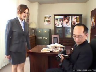 Sexy Asian Boss Rubs His Dick All Over Her...