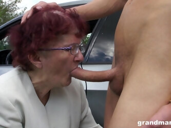 Redhead mature amateur with glasses...