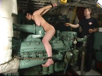 Bella gets tortured on a boat in an engine...
