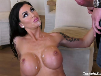 Busty Melissa Lynn pounded by two black...