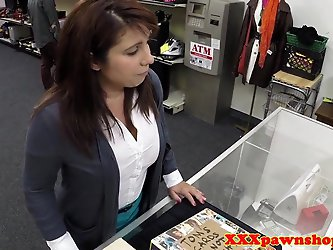 Busty pawnshop amateur doggystyled for cash