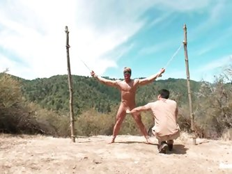 Hardcore gay BDSM outdoors with no such mercy