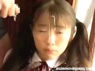 TEEN Japanese Schoolgirl Receives CUM SHOWER