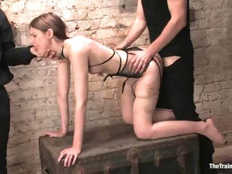 Kristine gives a handjob and gets fucked...