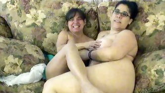 One BBW black haired fattie and one petite...