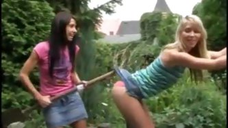 Playful teens have lesbian sex outdoors -...
